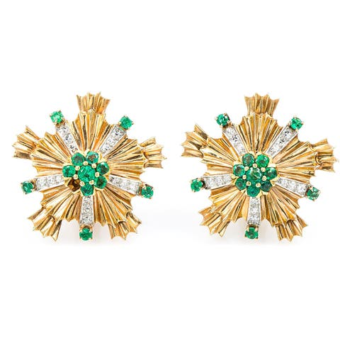 14k Rose Gold 1/2ct TDW Emerald and Diamonds Starburst Deco Estate Earrings (H-I, SI1-SI2)