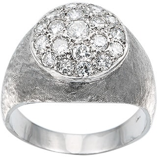 14k White Gold Men's 2ct TDW Diamond Cluster Top Estate Ring Size 12 (H-I, VS1-VS2)