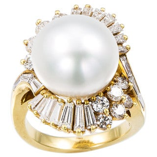 18k Yellow Gold Pearl and 2 1/4ct TDW Diamond Ballerina Estate Ring Size 6.5 (H-I, SI1-SI2)