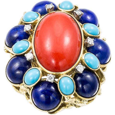 18k Yellow Gold 1/5ct TDW Diamond Coral Lapis Estate Cocktail Dome Ring Size 6(H-I, SI1-SI2)