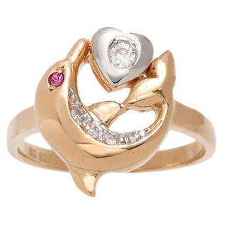 Pori 18k Yellow Goldplated Sterling Silver Dolphin and Heart Ring