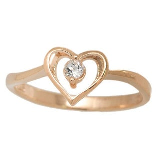 Pori Yellow Goldplated Sterling Silver Heart With A Cubic Zirconia Ring