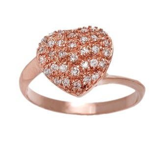 Pori 18k Rose Goldplated Sterling Silver Heart with Cubic Zirconia Ring