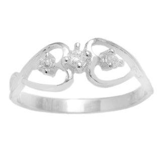 Pori Sterling Silver Twisted Hearts Cubic Zirconia Ring