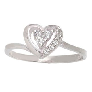 Pori Sterling Silver Cubic Zirconia Heart Ring