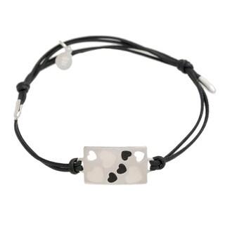 Pori Sterling Silver Rectangle Charm Enamel Hearts Leather Adjustable Bracelet