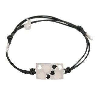 Pori Sterling Silver Rectangle Charm Enamel Hearts Leather Adjustable Bracelet (Option: Grey)