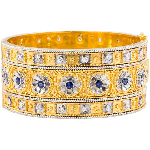 22k Yellow Gold 1 3/4ct TDW Lace and Filigree Antique Bangle (H-I, SI1-SI2)