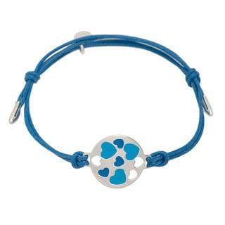 Pori Sterling Silver Circle Charm Enamel Hearts Leather Adjustable Bracelet