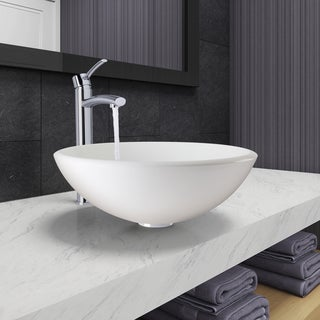 VIGO White Phoenix Stone Vessel Bathroom Sink and Milo Faucet Set in Chrome Finish
