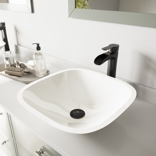 VIGO Square Shaped White Phoenix Stone Vessel Bathroom Sink And Niko Faucet  Set In Antique
