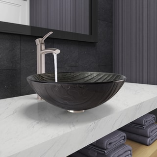 VIGO Interspace Glass Vessel Bathroom Sink and Milo Faucet Set in Brushed Nickel Finish