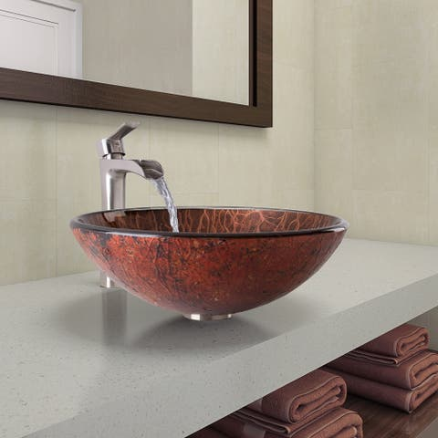 VIGO Mahogany Moon Glass Vessel Bathroom Sink and Niko Faucet Set in Brushed Nickel Finish