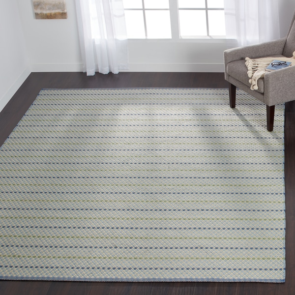 Indoor/ Outdoor Earth Tone Flatweave Mediterranean Stripe Rug - 9'3 X 13'