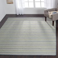 Indoor/ Outdoor Earth Tone Flatweave Mediterranean Stripe Rug