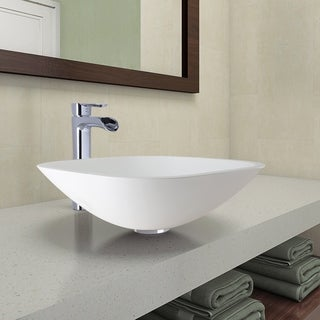 VIGO Square-Shaped White Phoenix Stone Vessel Bathroom Sink and Niko Faucet Set in Chrome Finish