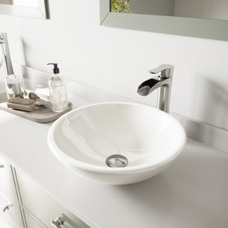 VIGO White Phoenix Stone Vessel Bathroom Sink and Niko Faucet Set in Brushed Nickel Finish
