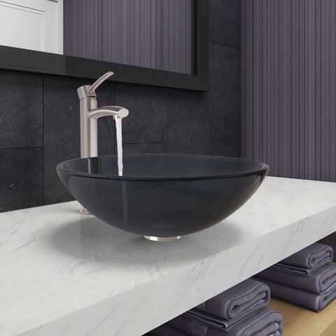 VIGO Sheer Black Glass Vessel Bathroom Sink and Milo Faucet Set in Brushed Nickel Finish