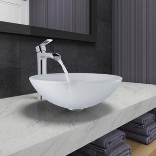 VIGO White Frost Glass Vessel Bathroom Sink and Niko Faucet Set in Chrome Finish