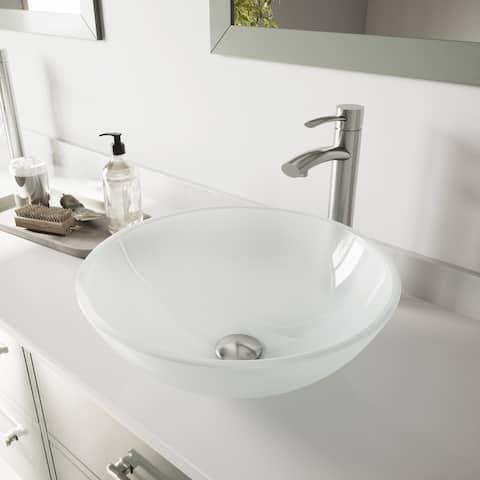 VIGO White Frost Glass Vessel Bathroom Sink and Milo Faucet Set