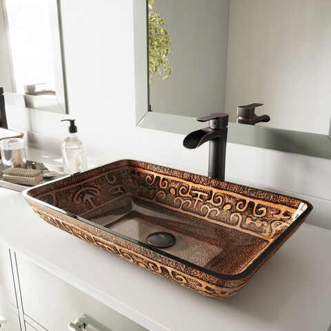 VIGO Rectangular Golden Greek Glass Vessel Bathroom Sink and Niko Faucet Set in Antique Rubbed Bronze Finish