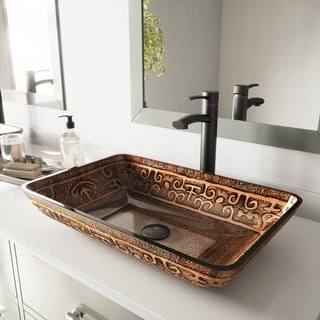 VIGO Rectangular Golden Greek Glass Vessel Bathroom Sink and Milo Faucet Set in Antique Rubbed Bronze Finish