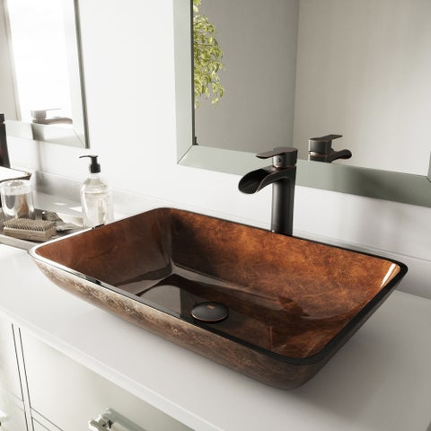 VIGO Rectangular Russet Glass Vessel Bathroom Sink and Niko Faucet Set in Antique Rubbed Bronze Finish