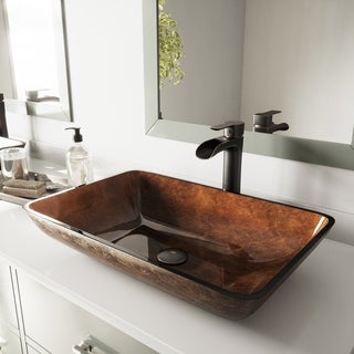 VIGO Rectangular Russet Glass Vessel Bathroom Sink and Niko Faucet Set