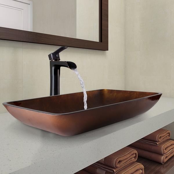 shop vigo rectangular russet glass vessel bathroom sink and niko