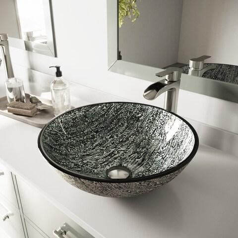 VIGO Titanium Glass Vessel Bathroom Sink and Niko Faucet Set in Brushed Nickel Finish