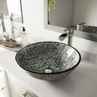 VIGO Titanium Glass Vessel Bathroom Sink and Niko Faucet Set in Brushed Nickel Finish