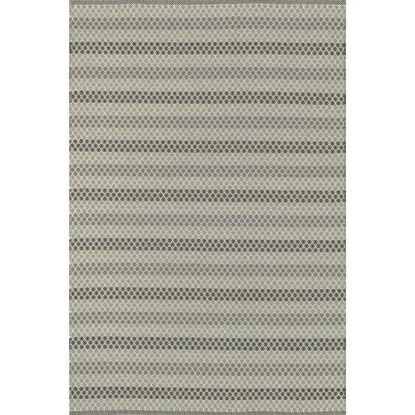 Indoor/ Outdoor Earth Tone Flatweave Steel Stripe Rug - 5'0 x 7'6