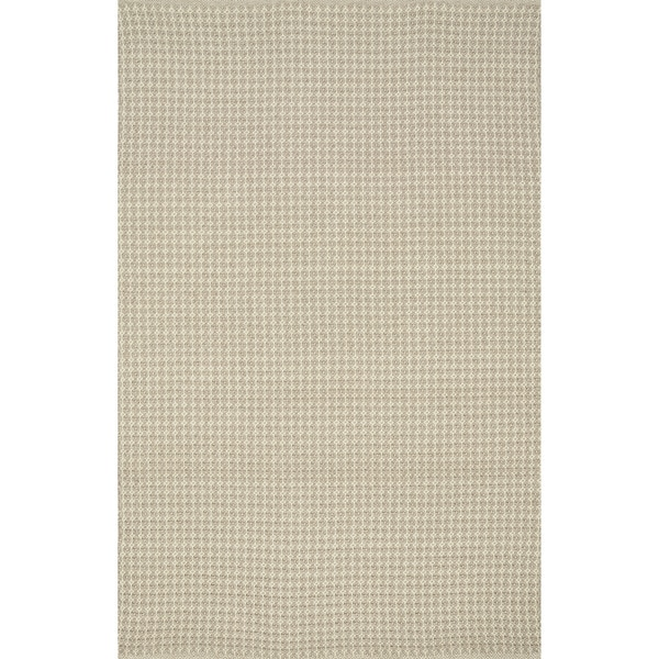 Indoor/ Outdoor Earth Tone Flatweave Oatmeal Rug - 7'6 x 9'6