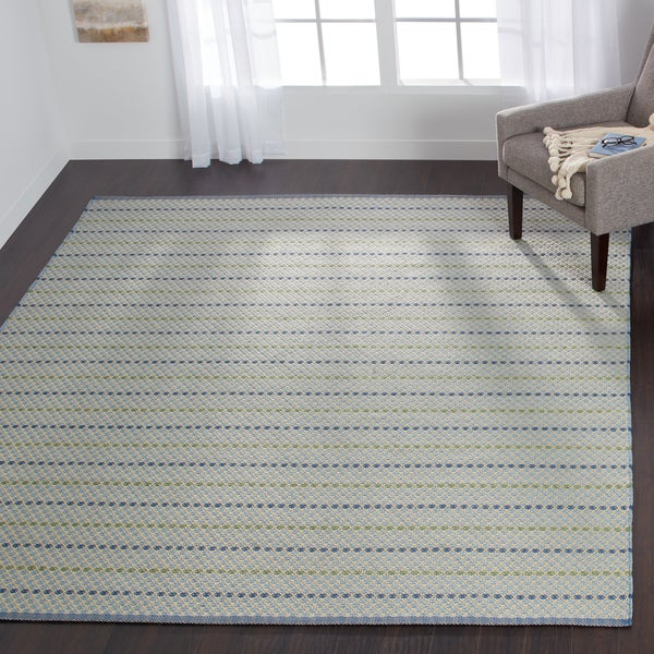 Indoor/ Outdoor Earth Tone Flatweave Mediterranean Stripe Rug (5'0 x 7'6) - 5' x 7'6""