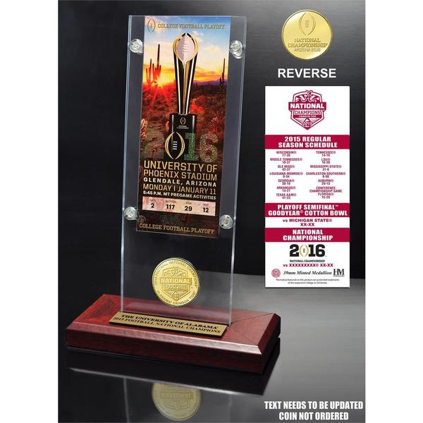 Alabama 2015 College Football National Champions Ticket & Bronze Coin Acrylic Desktop