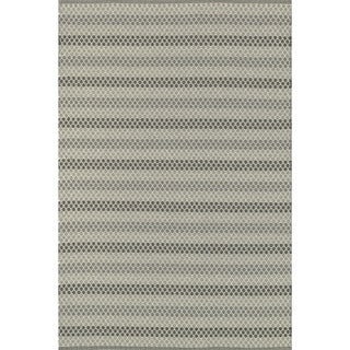Indoor/ Outdoor Earth Tone Flatweave Steel Stripe Rug (9'3 X 13')