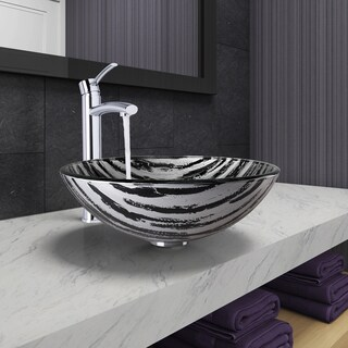 VIGO Rising Moon Glass Vessel Bathroom Sink and Milo Faucet Set in Chrome Finish