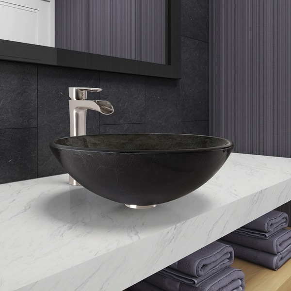 vigo bathroom sinks vigo gray onyx glass vessel bathroom sink and niko faucet 14952