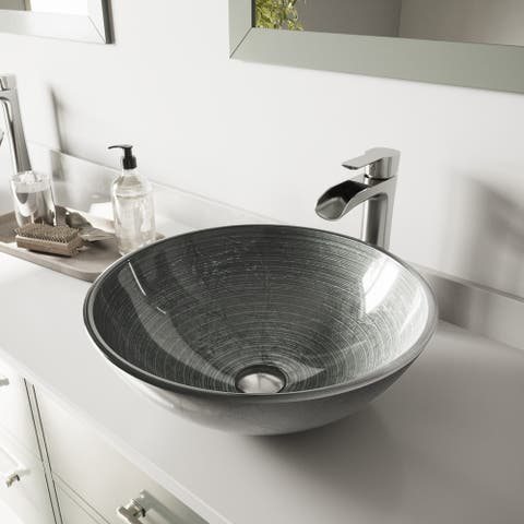 VIGO Simply Silver Glass Vessel Bathroom Sink Set with Niko Faucet