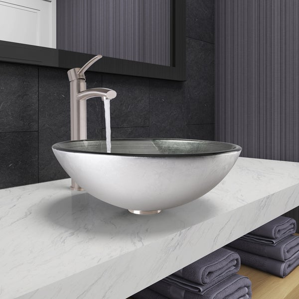 7 Faucet Finishes For Fabulous Bathrooms: Shop VIGO Simply Silver Glass Vessel Bathroom Sink And