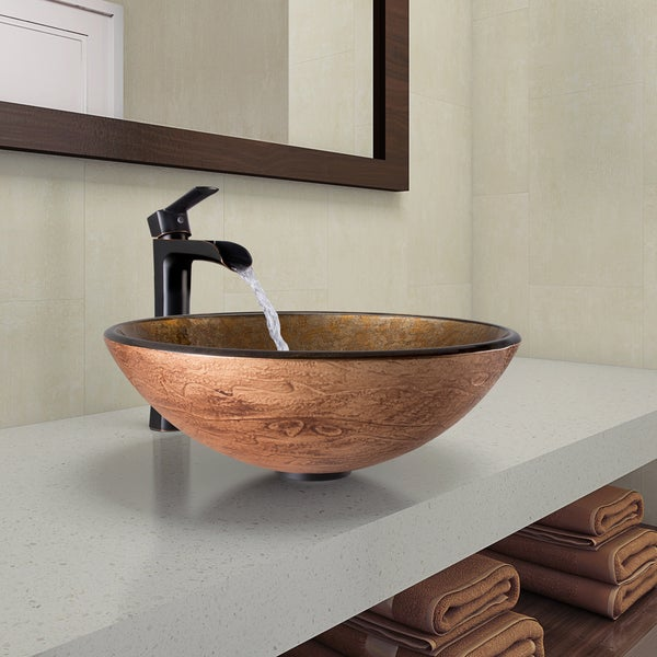 Vigo Cuccino Swirl Gl Vessel Bathroom Sink And Niko Faucet Set In Antique Rubbed Bronze Finish
