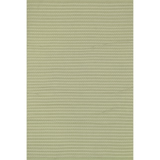 Indoor/ Outdoor Earth Tone Flatweave Sage Stripe Rug (7'6 x 9'6)