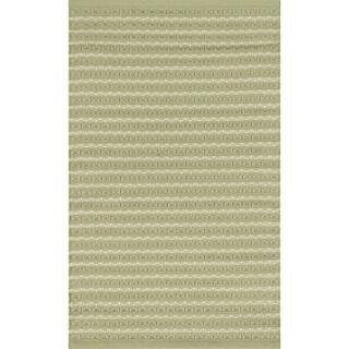 Indoor/ Outdoor Earth Tone Flatweave Sage Stripe Rug (3'6 x 5'6)