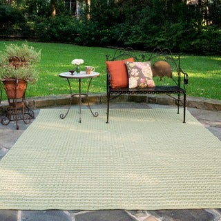 Indoor/ Outdoor Earth Tone Flatweave Sage Stripe Rug (9'3 X 13')
