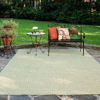 Indoor/ Outdoor Earth Tone Flatweave Sage Stripe Rug (9'3 X 13')