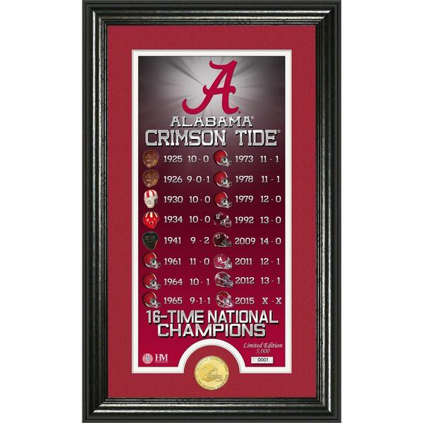 "University of Alabama 16-time Football National Champions ""Legacy"" Minted Coin Photo Mint"