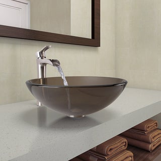VIGO Sheer Sepia Glass Vessel Bathroom Sink and Niko Faucet Set in Brushed Nickel Finish