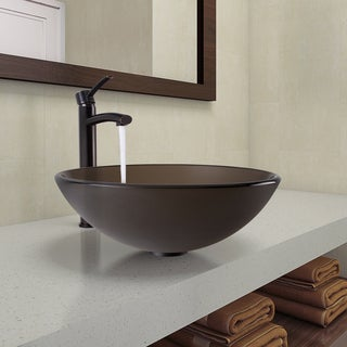 VIGO Sheer Sepia Frost Glass Vessel Bathroom Sink and Milo Faucet Set in Antique Rubbed Bronze Finish