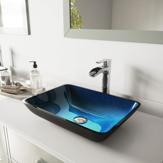 VIGO Rectangular Turquoise Water Glass Vessel Bathroom Sink and Niko Faucet Set in Chrome Finish