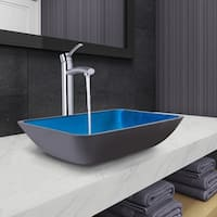 VIGO Rectangular Turquoise Water Glass Vessel Bathroom Sink and Milo Faucet Set in Chrome Finish